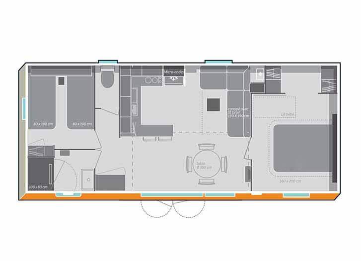 Plan mobil-home luxe Île de Ré